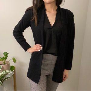 Eileen Fisher Black Pattern Open Front Sweater
